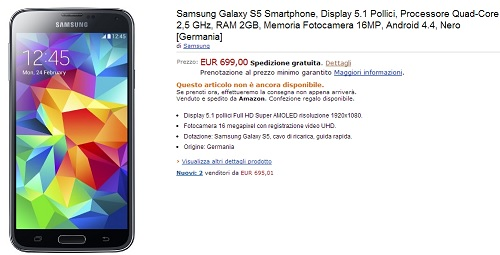 Preordine Galaxy S5: disponibile su Amazon a 699 euro